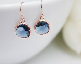 Earrings rose gold blue dark blue Navy