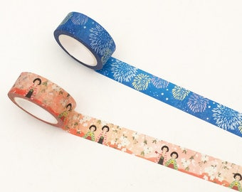Kyoto Decor Washi Tape - Firework / Floral (1 pc) Japanese Stationery Masking Tape Set Deco Tape