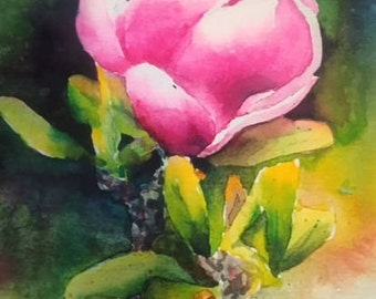 Tulip Tree Original Watercolor Painting 10 in X 7 in Pink Green Gifts under 50 Flowers