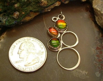 Ammolite Pendant Sterling Silver Utah Gem Fossil Rare Deposit Statement Pendant Statement Jewelry Red Green Yellow Fire 047BG