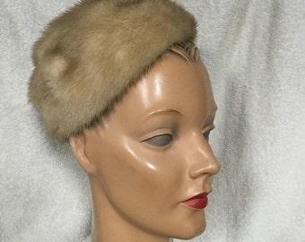 1950s Blonde Mink Pillbox