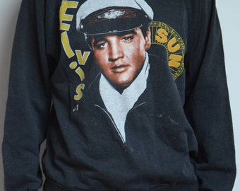 Sweat vintage Elvis Presley, années 80, noir, Rare! // Rare Vintage Elvis Presley and Sun records black Sweater or jumper from the 1980's