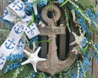 Nautical Wreath-Anchor Wreath-Beach Wreath-Summer Home Wreath-Coastal Wreath-Summer Wreath-Beach Welcome Wreath-Housewarming Gift-Gift