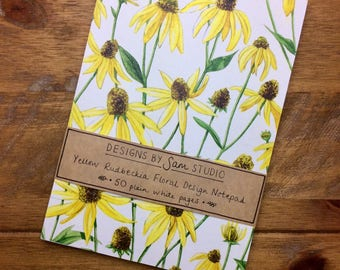 A5 Notepad. Yellow Rudbeckia Floral Notebook. 50 pages. Original Design.