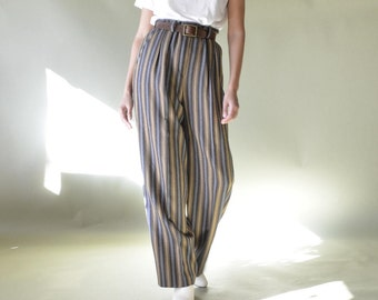 70s thick new wool striped high waist, wide leg trousers // Made in Germany // 27W