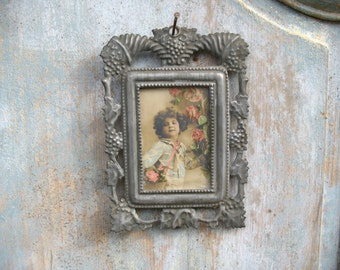 French photo frame with old picture, 1930s