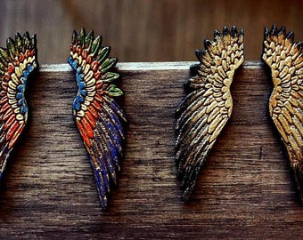 Wood Angel Wings Earrings