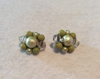 Adorable Vintage Clip On Earrings - Olive Green/Faux Pearl/Clear Baubles - 1950s Era