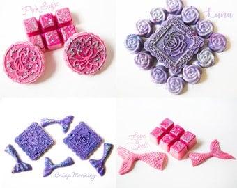 Designer Wax Melts Sampler 14.7 Oz. (Love Spell | Pink Sugar | Crisp Morning | Luna) - Wax Sampler - Handmade Wax Melts - Hand Poured Wax