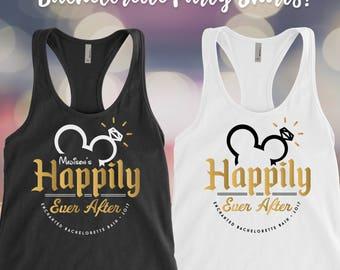 Disney Bachelorette Party Tank Top Bridesmaid Tops Bridal Tanks Happily Ever