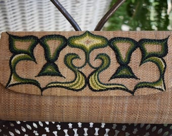 Vintage Woven Basket Clutch with Green Embroidery