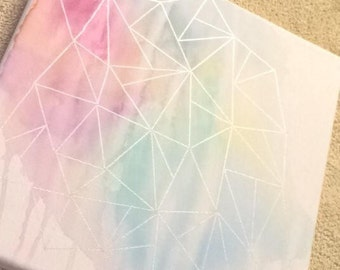 Watercolor Geometric Triangle Canvas