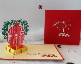 Christmas Bauble Pop up Card-Christmas-(sku409)
