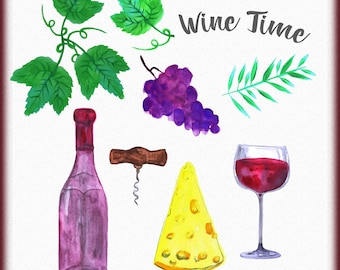 Wine clipart, Watercolor wine clipart, Red wine clip art, Hand painted wine set, Cheese clipart, Wine set clip art, Instant download wine