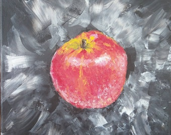 Dark Apple Fruit Acrylic Painting Black White Gray Red
