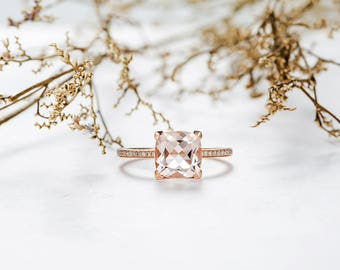 Morganite Engagement Ring Rose Gold Cushion Cut Solitaire Half Eternity Diamond Women Bridal Promise Anniversary Birthday Gift For Her