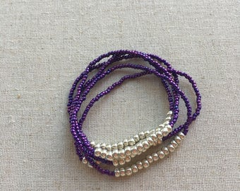 SALE- Seed Bead Stretch Layering Bracelet- Violet