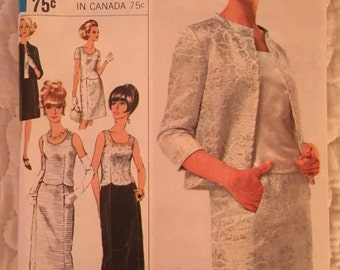1960s Size 14 Bust 34 Special Occasion Simplicity 6787 Designer Fashion Pattern Vintage Sewing Evening Skirt Ensemble