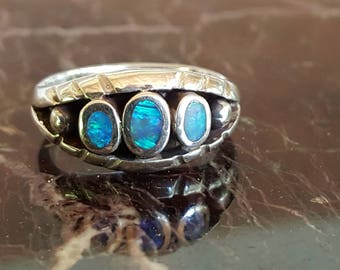 Inlaid Opal Ring, Opal Ring, Opal, Silver Opal Ring, Ladies Ring