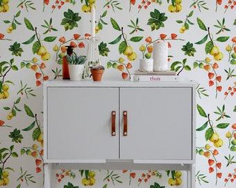 Guava Wallpaper, Watercolor Vibrant Wall Mural, Self-Adhesive, Reusable, Removable Wallpaper, Fruit Wallpaper, Floral Wallpaper -A231