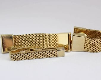 Vintage Swank Mesh Wrap Cuff Links and Tie Clip; Gold Tone; Kum-A-Part