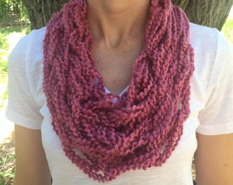 Pink Arm Knitted Infinity Scarf