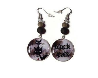 Dangling earrings - black cats - cat gift