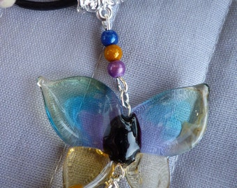Glass Butterfly Necklace file artisan LAMPWORK and pearls