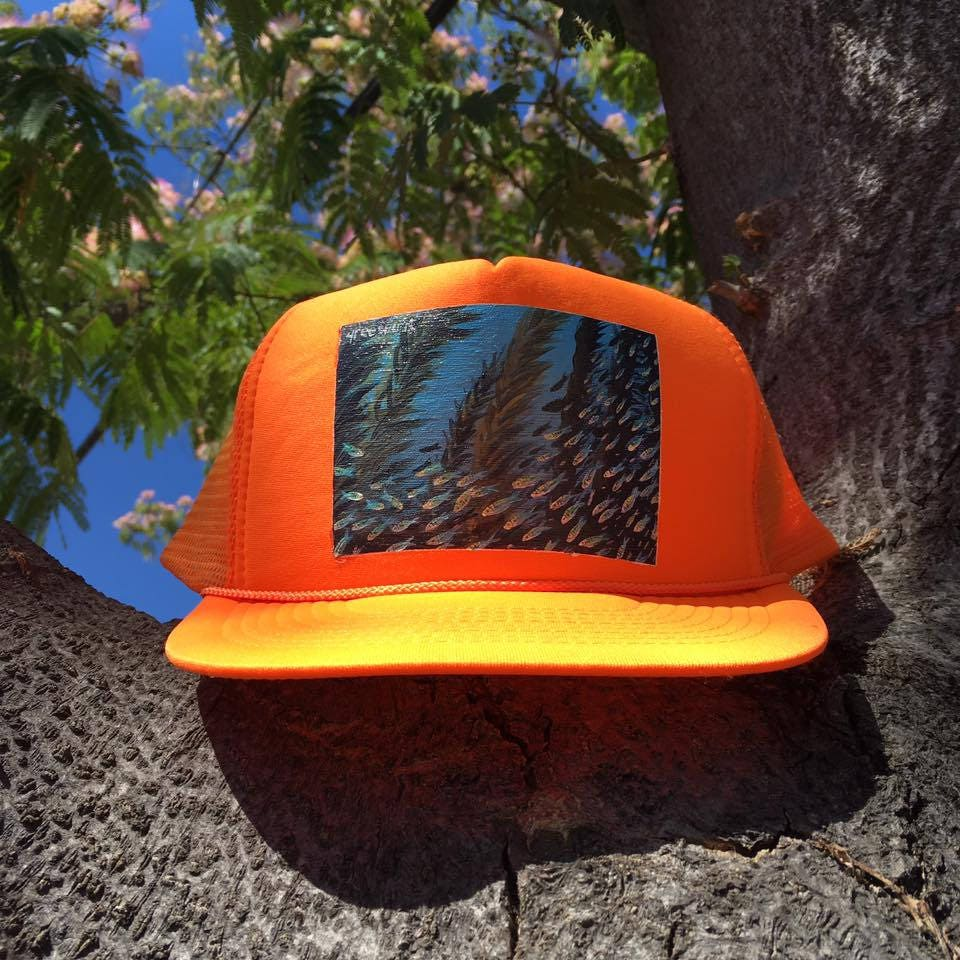 d83f06da2c5 Kelp forest HAND-PAINTED upcycled orange trucker hat