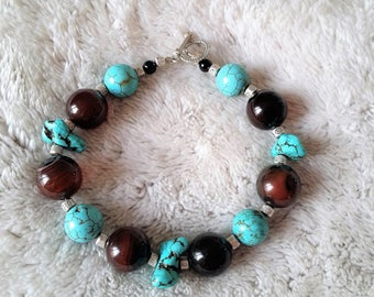 turquoise and Brown agate beaded bracelet