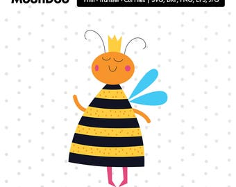 Queen Bee svg, Queen Bee Clipart Svg Files For Silhouette , Svg For Cricut, Cut Files Vinyl Decal Iron On Transfer Kawaii Svg Kids Animal