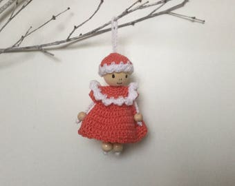 Room decoration to hang doll coral white-gift-child teen - yarn acrylic - Sweet Home - Funny House gold Christmas Tree.