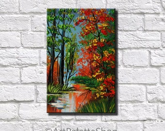 Autumn Painting Colorful Art Fall Decor Oil Painting On Canvas Fall Gift Bedroom Decor Art Forest Painting Autumn Nursery Decor Autumn art