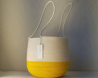 Handled Basket in Two Tones