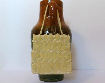 Vintage Walborg Yellow Seed Bead Tulip Design Clutch Purse-Evening Bag Accessory