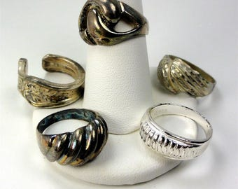 Lot of 5 Old Rings-Bands sizes: 6-1/2, 7, 8-1/2, 8, 5-1/4 .925 or Silverplate mix ET6374