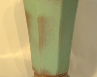 "Frankoma Vase, Prairie Green #64  9 1/2"" Tall"