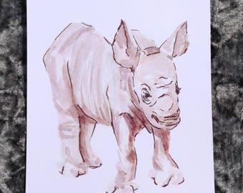 Baby Rhino watercolour print