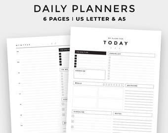 Minimal Daily Planner l Printable Planner l To Do List l Planner Inserts l Undated Planner l Minimalist Planner l A5, A4, US Letter