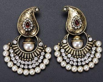 Vintage look Bohemian ethnic inspired antique look pearl rhinestone dangle drop earrings