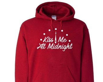 New Years Kiss Me At Midnight Unisex Hooded Sweatshirt Sweater Holiday Gift