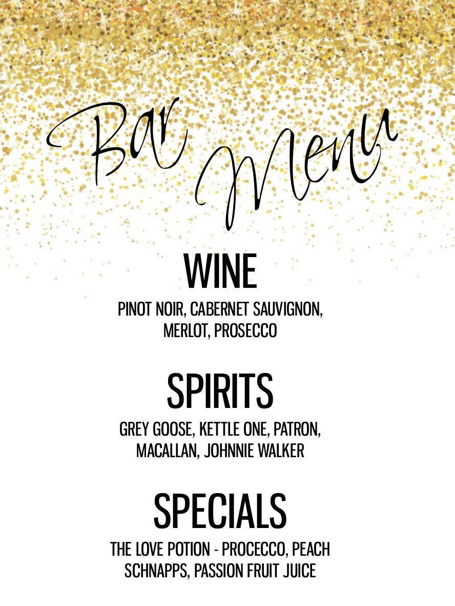 Custom bar menu for any event, drink menu, wedding bar menu, bar ...