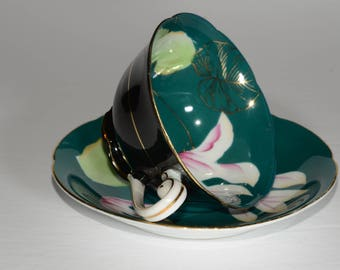 Vintage, OCCUPIED JAPAN, Princess, China Hand Painted, Black / Green, Teacup and saucer, White and Pink Floral pattern Green + Gold Leaves