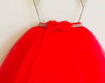 Long Tutu Skirt (Choose Your Color) -Full Length Tutu, Flower Girl Tutu, Wedding Tutu, Toddler Tutu
