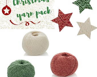 Christmas Decor Yarn Kit - 3 Balls Combo Pack - Xmas Cotton Baby Yarn - Christmas Home Crochet Yarn - Knitting Yarn Pack - Christmas Garland