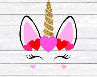 Valentine, Unicorn, Valentines Day, Eyelashes, Hearts, Svg, Dxf, Png, Clipart, Girls Valentine, Svg files for, Silhouette, Cricut, Cut files