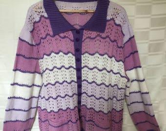 Vintage Purple Floral Cardigan|Handmade|Multicolour|Wool