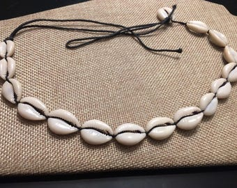 White Shell Necklace with Black Rope Tie