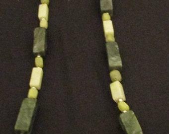 "Serpentine, New Jade and Peridot Jasper necklace 26"""