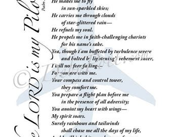 The Lord is my Pilot - Original Poetry Wall Art - Christian Home & Office Decor - Inspirational Wall Art - For Her - Christian Poetry 8x10